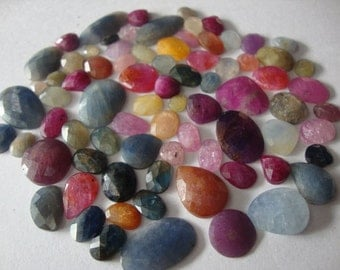 Multi Sapphire rose cuts weight 275 carats size 15 mm and up wholesale lot