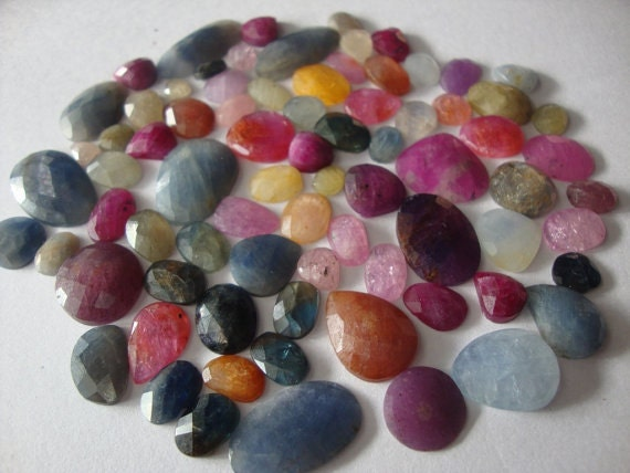Multi Sapphire rose cuts weight 184 carats Pcs 85 Mix sizes and mix shapes wholesale lot