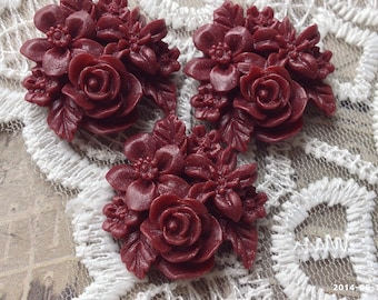 25 mm Umber Red Color Resin Flower Cluster Cabochons (.gm)(ZZP)