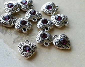 10 x 10 mm Tibetan Silver Heart Shape Charm Pendants / Drop Pendant / Purple Rhinestone  (.tu)