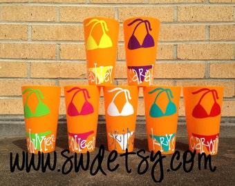 Personalized Bachelorette Cups, Set of 4 Tumblers, Beach,Bikini, Party Cups