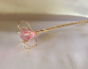 Pink jewel princess wand/ fairy wand, flower girl wand