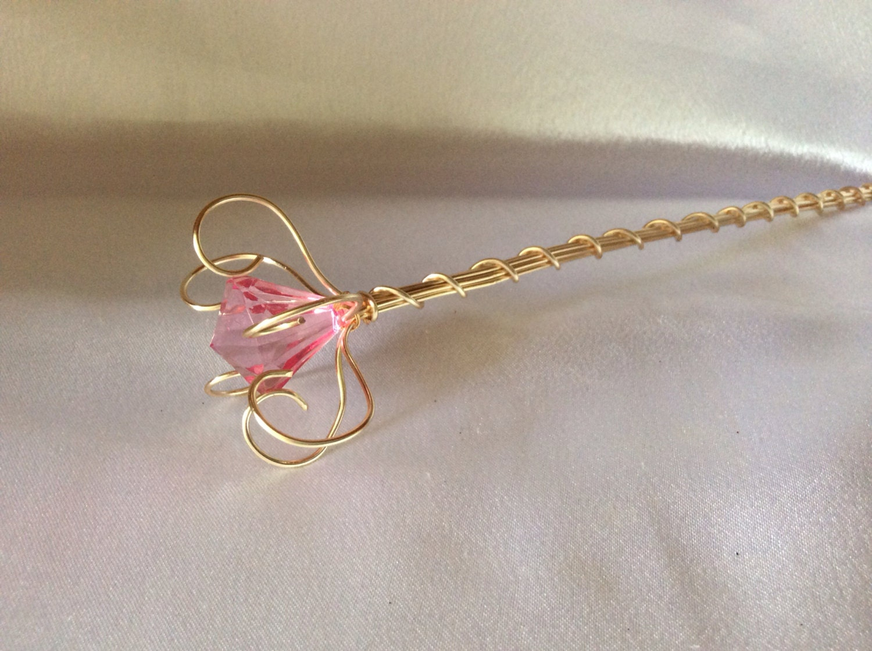 pink jewel princess wand fairy wand flower girl wand. Black Bedroom Furniture Sets. Home Design Ideas