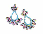 neon earrings Splatter pink orange turquoise black painted rhinestones