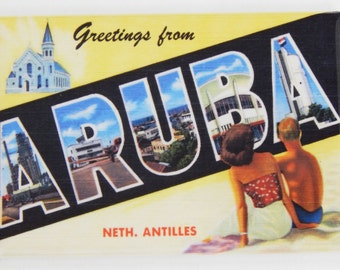 Greetings from Aruba Fridge Magnet