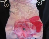 XXS, XS, Sm, med Harness dress  in a soft pink taffeta with overlay in white embroidery organza