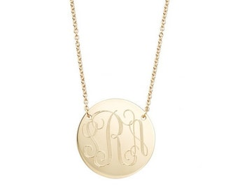 Engraved Monogram necklace • Two hole 14k Gold filled modern pendant necklace • Personalized round charm in various diameters • Bridesmaids