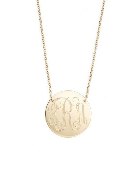 Engraved monogram necklace two hole 14k gold filled modern like this item mozeypictures Image collections