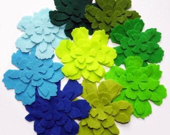 Felt Flower Shapes VerdeAzul, set of 36 pieces, felt shapes,felt die cut, pre cut felt