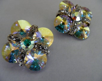 Crystal Statement Clip Earrings