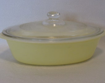 Vintage Yellow Glasbake Casserole Dish with Lid