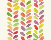 Colorful Leaf Design, Original Watercolor Painting, 5x7, lime, orange, yellow, plum, tangerine, leaf pattern