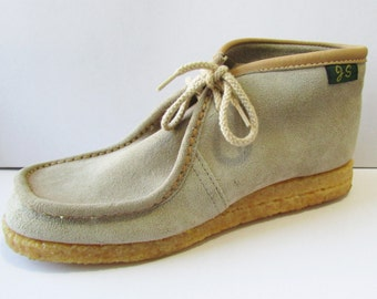 Vintage Boots Wallabees Chukkas Style Sand Suede 70s NOS 6 7