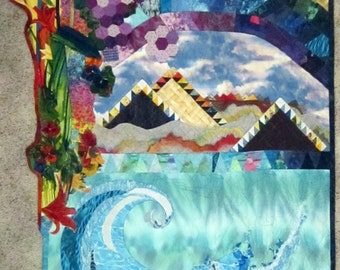 "Rainbow Volcanoes Art Quilt 84x44""  Hawaii Tropical"