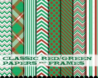 Red Green digital paper clip art frame, printable chevron Polka dot scrapbooking paper pack : p0218 3s0320 IP