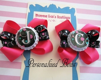 Momma Eva's -- PERSONALIZED Hot Pink & Black Hair Bow Set //  // You Choose the Letter(s)  // 2 Bows Included With This Design