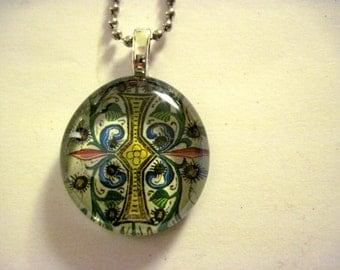 Initial I, Bible Art Pendant,  Handmade Necklace,  Medieval Illustrations, glass Gem, handmade pendant, glass pendant