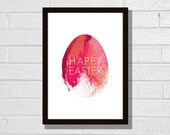 """Painted Easter egg printable poster 8x10"""". Modern minimalist spring design colors. English, French and German."""