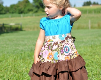 Girl's Dress Pattern, Long and Short Sleeve, Ruffled Dress Pattern, Allana Ruffled Dress, Peasant Dress Pattern