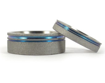 Set of two Sandblasted Titanium Wedding Rings with Anodized Inlay