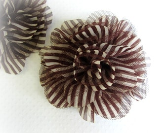 Brown Stripe Chiffon Flower, Brown and White. 1 PC. PF1011