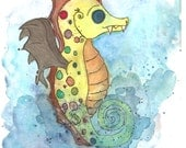 Whimsical Seahorse art print , Yellow Seahorse , Sea animal art print , Nautical art , Sea creature , seahorse print , Sea animal print