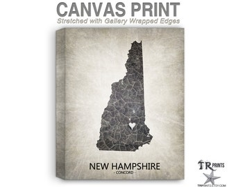New Hampshire Map Stretched Canvas Print - Home Is Where The Heart Is Love Map - Original Personalized Map Print on Canvas