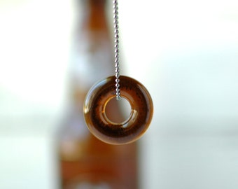 Beer Bottle Ball Chain Necklace | Upcycled Recycled Repurposed Glass Jewelry