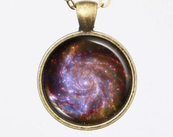 Galaxy Necklace - Pinwheel Galaxy Astronomy Photo Necklace - Galaxy Series (G015)