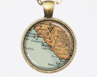 Rome Map Necklace - Rome, Italy -Vintage Map Series