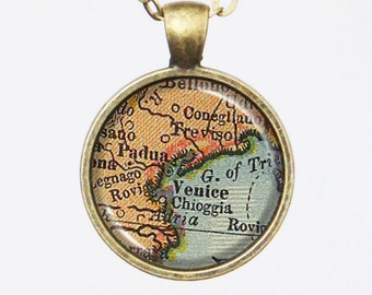 Venice Map Necklace- Vintage Venice, Italy Map Jewelry -Custom Vintage Map Series