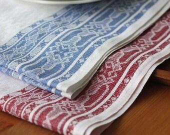 8 Jacquard halflinen tea-towels white blue