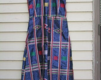 Vintage Halter style sun dress w shimmering Aztec design and fringe hem ala 1970s