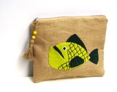 Handmade Jute zippered clutch, pouch bag Embroidered Zipper pouch, applqued with a green fish,Cosmetic bag,Pencil case,ooak,