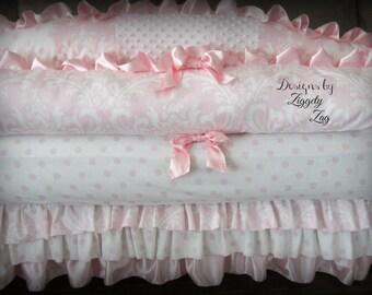 Pink Damask Ruffle Baby Bedding