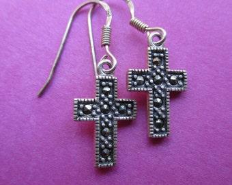 Vintage Sterling Silver Marcasite Cross Earrings