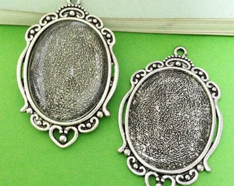 Cabochon Base -3pcs Antique Silver Cabochon Setting Bezel Tray Charm Pendants 30x40mm AA201-6
