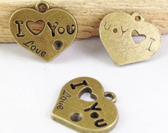 15pcs Heart Charms - Antique Bronze I Love You Heart Charm Pendant 21mm E107-6