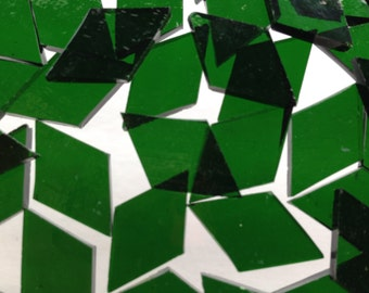 Mosaic Tiles - 100 Small Diamonds - Green Stained Glass - Hand-Cut