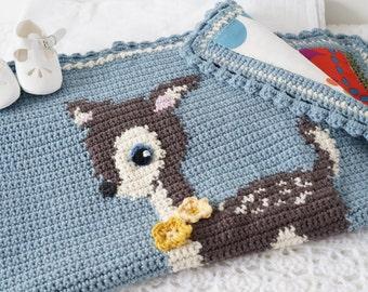 Deer Crochet Blanket, Baby Afghan Pattern, Woodland Theme, Nature Decor, Newborn Throw, Crib Blankie, Newborn Comforter, PDF Pattern