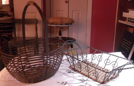 Vintage metal baskets craft supplies wire and braided for Rustic home decor suppliers