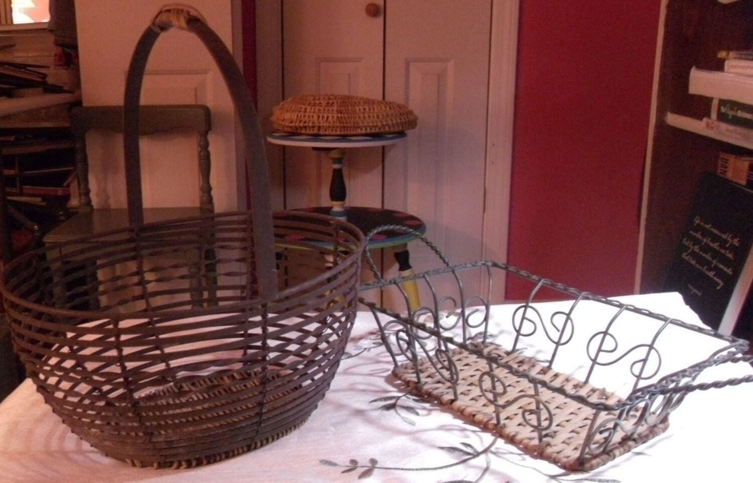 Vintage Metal Baskets Craft Supplies Wire And Braided Metal Handles Decoration Fruit
