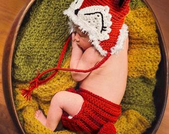 Crocheted Fox Newborn Photo Prop Set