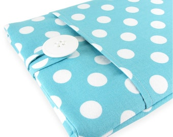 MacBook Air Case, MacBook Air Sleeve, MacBook Air 11 Case, MacBook Air Cover, MacBook Air 11 Sleeve - Aqua Polka Dot