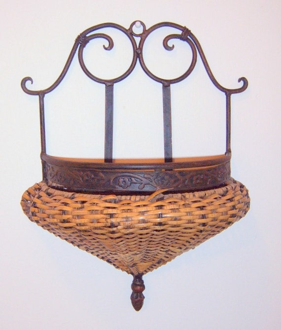 Vintage Iron Wicker Hanging Wall Decor Country By Cissyscrafts