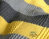 Crochet Gray Yellow Baby Blanket MADE TO ORDER