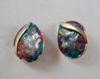 Vintage Enamel Swirl Clip On Earrings