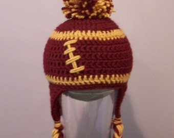 Crocheted baby football beanie Any team, any size, any color