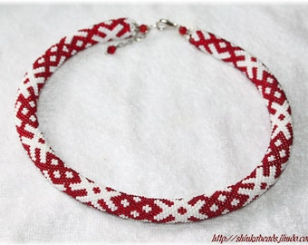 Ethnical ornament bead crochet necklace white and DARK red handmade unique OZOLINS pattern