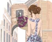 Fashion Illustration, Roman Holiday, Bohemian Style, Floral, Art Print, Italian Vacation Print,  Wanderlust Art Print